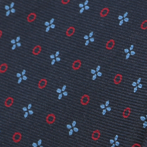 X & O Slim Navy Macclesfield Silk Tie