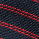 Slim Navy and Red Striped Knitted Tie