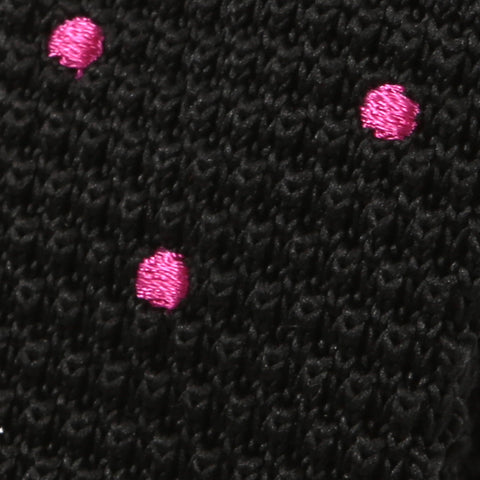 Black & Pink Polka Dot Knitted Tie - Handmade Silk Wool And Knitted Ties by Tie Doctor
