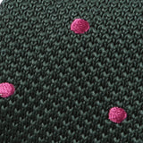 Green & Pink Polka Dot Knit Tie