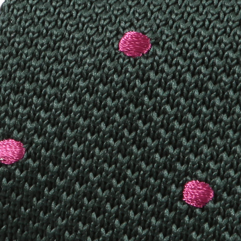 Green & Pink Polka Dot Knit Tie - Handmade Silk Wool And Knitted Ties by Tie Doctor