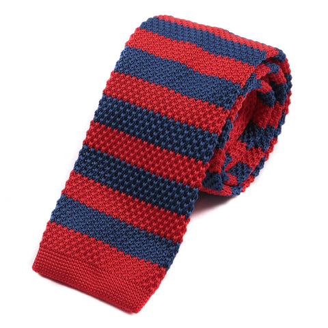 Red & Blue Striped Knitted Tie - Handmade Limited Edition Ties by Tie Doctor