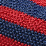 Red & Blue Striped Knitted Tie
