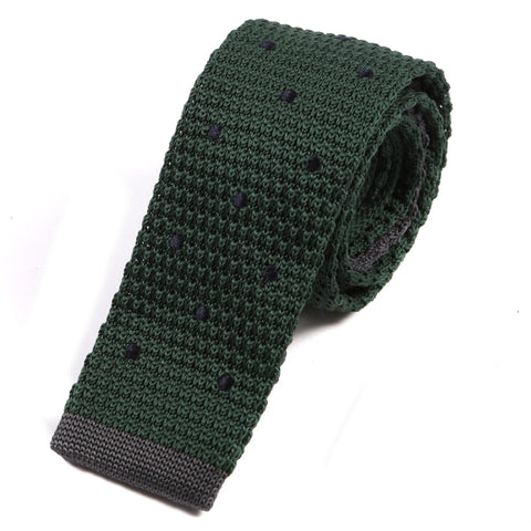 Green & Navy Polka Dot Knit Tie - Handmade Silk Wool And Knitted Ties by Tie Doctor