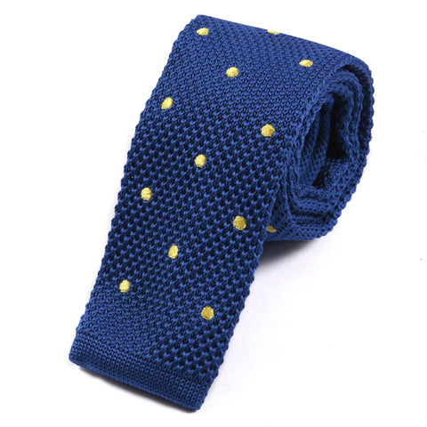 Blue & Yellow Knitted Dots Tie - Handmade Silk Wool And Knitted Ties by Tie Doctor