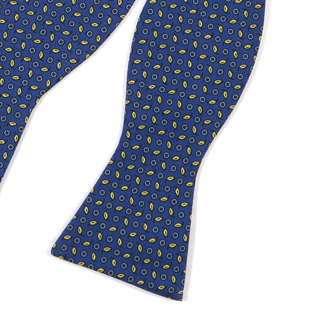 Blue & Yellow Leaf Fusion Silk Bow Tie - Handmade Limited Edition Ties by Tie Doctor
