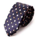 Navy & Orange Floral Slim Tie - Handmade Silk Wool And Knitted Ties by Tie Doctor