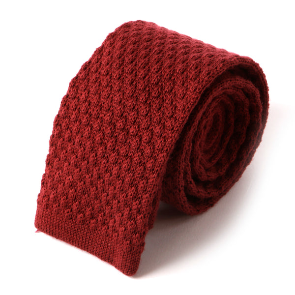Raised Red Wool Knitted Tie