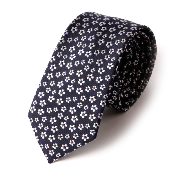 Navy Floral Slim Tie - Handmade Silk Wool And Knitted Ties by Tie Doctor