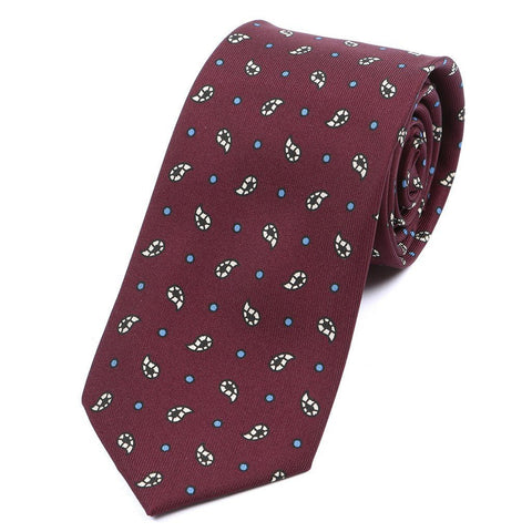 Red Silk Tie With Subtle Paisley