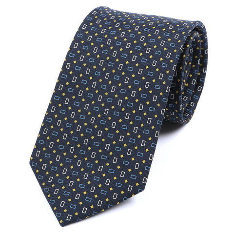 Navy & Yellow Polka Dots Silk Tie - TIE DOCTOR online