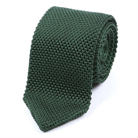 Dark Green Silk Pointed Knitted Tie - TIE DOCTOR online
