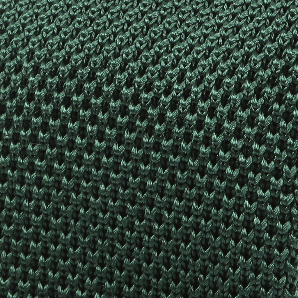 Dark Green Silk Pointed Knitted Tie - Handmade Silk Wool And Knitted Ties by Tie Doctor