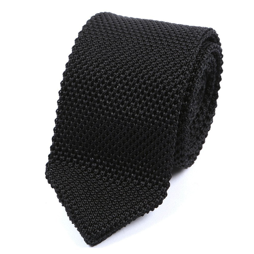 Black Silk Pointed Knitted Tie - Handmade Silk Wool And Knitted Ties by Tie Doctor