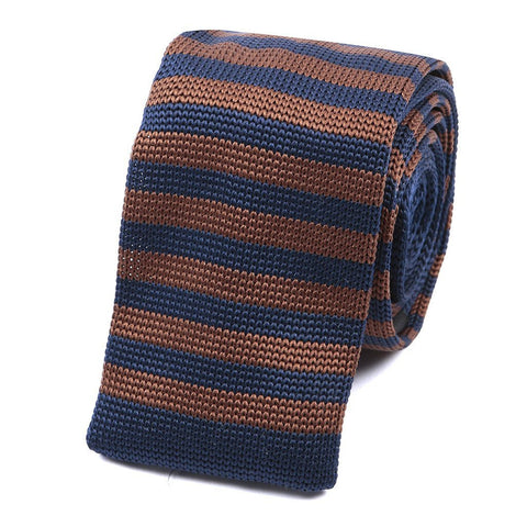 Navy & Brown Knitted Tie - Handmade Silk Wool And Knitted Ties by Tie Doctor