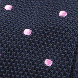 Navy & Pink Polka Dots Knitted Tie