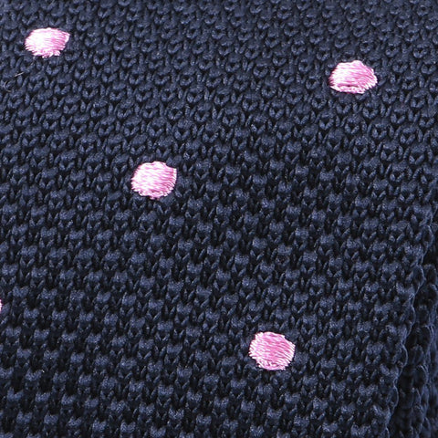 Navy & Pink Polka Dots Knitted Tie - Handmade Silk Wool And Knitted Ties by Tie Doctor