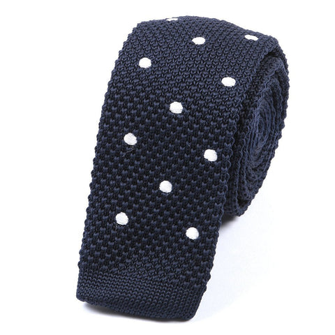 Navy and White Polka Dot Knitted Tie