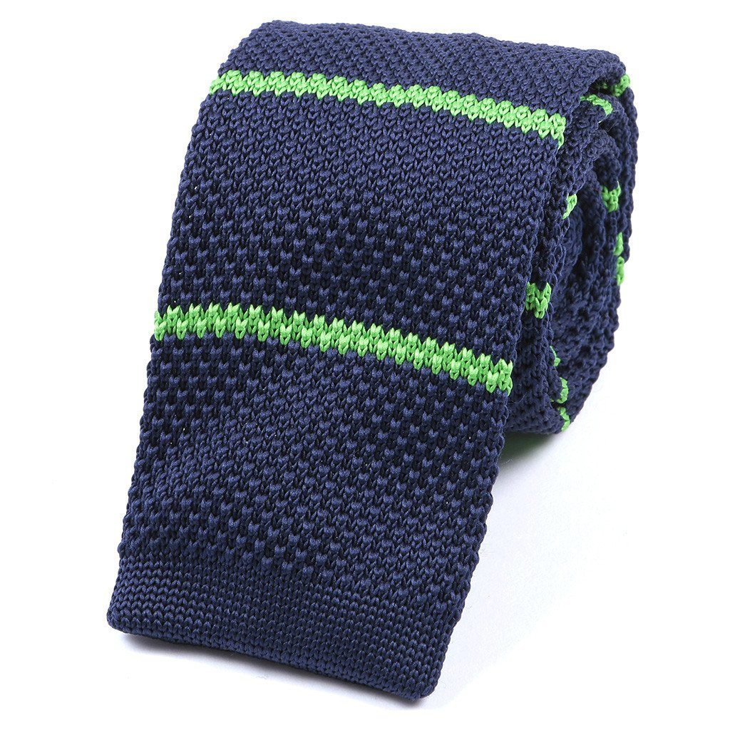 Navy & Green Striped Knitted Tie - Handmade Silk Wool And Knitted Ties by Tie Doctor