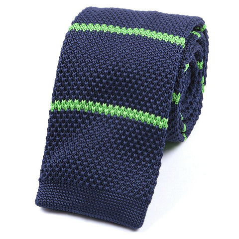 Navy & Green Striped Knitted Tie - TIE DOCTOR online
