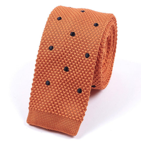 Orange & Navy Blue Polka Dots Knitted Tie - Handmade Limited Edition Ties by Tie Doctor