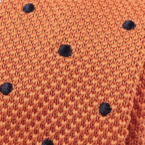 Orange & Navy Blue Polka Dots Knitted Tie