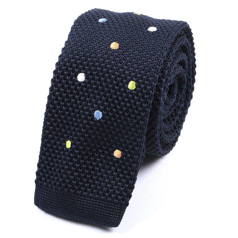 Navy & Multicoloured Polka Dots Knitted Tie - Handmade Silk Wool And Knitted Ties by Tie Doctor