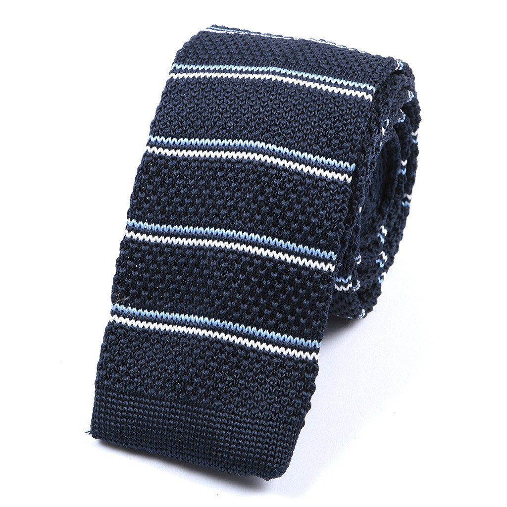 Navy & White Striped Knitted Tie - Handmade Silk Wool And Knitted Ties by Tie Doctor
