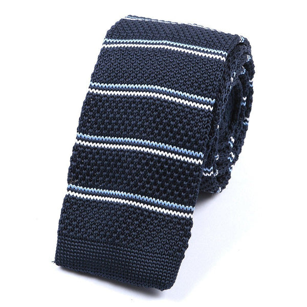 Navy & White Striped Knitted Tie