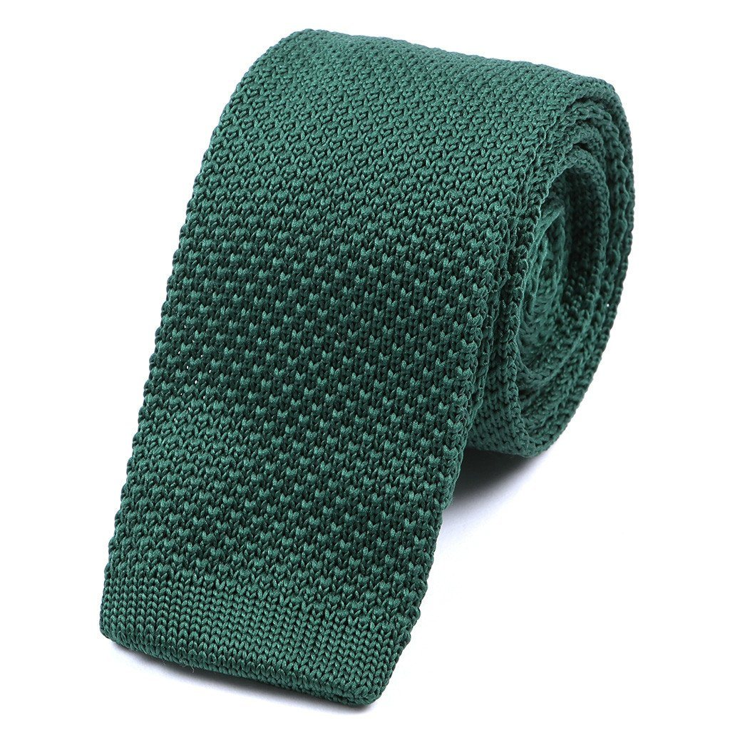 Plain Green Knitted Tie - Handmade Limited Edition Ties by Tie Doctor