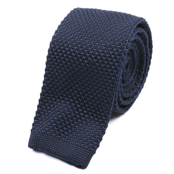 Best seller Plain Navy Knitted Tie - Handmade Silk Wool And Knitted Ties by Tie Doctor