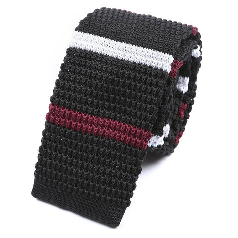 Black White & Red Knitted Tie - TIE DOCTOR online