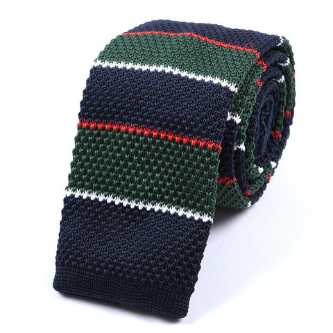 Green Navy & Red Knitted Tie