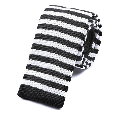 Black & White Stripe Knitted Tie - Handmade Silk Wool And Knitted Ties by Tie Doctor