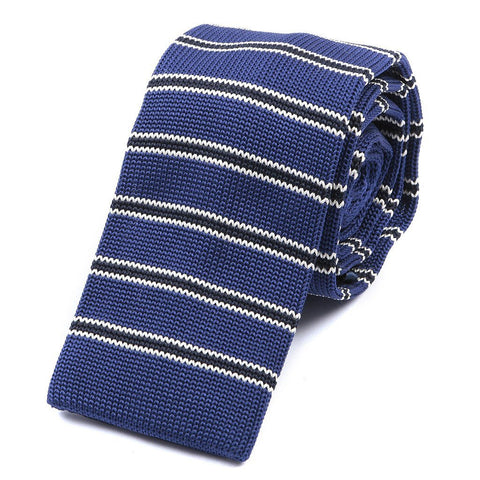 Blue & Black Stripe Knitted Tie - Handmade Silk Wool And Knitted Ties by Tie Doctor