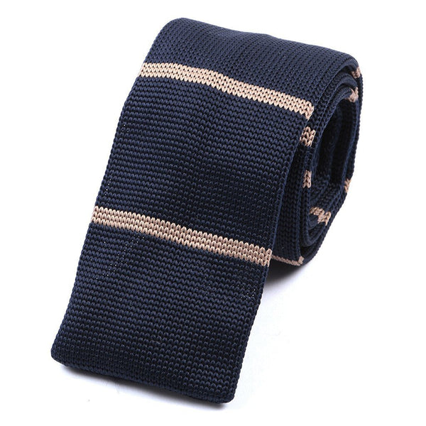 Navy & Brown Stripe Knitted Tie