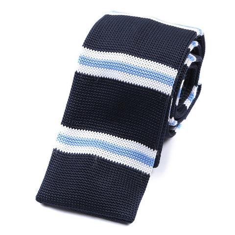 Navy and White Stripe Knitted Tie
