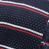 Navy Red & White Stripe Knitted Tie