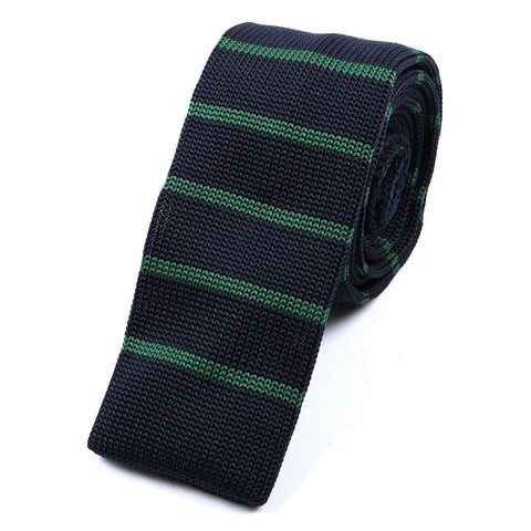 Navy & Thin Green Stripe Knitted Tie - TIE DOCTOR online