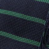 Slim Navy & Green Striped Knitted Tie