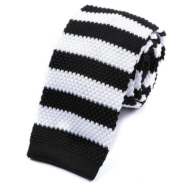 Black & White Block Stripe Knitted Tie - Handmade Silk Wool And Knitted Ties by Tie Doctor