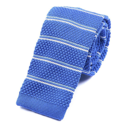 Blue & White Stripe Knitted Tie - TIE DOCTOR online
