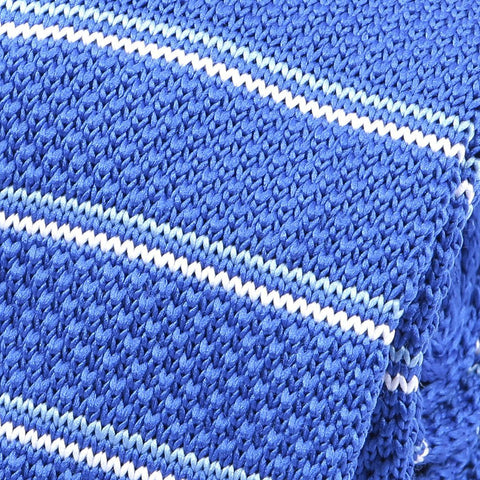 Blue & White Stripe Knitted Tie - Handmade Silk Wool And Knitted Ties by Tie Doctor