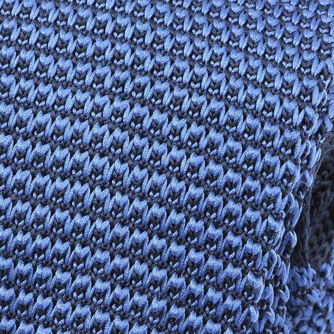Blue Knitted Tie - Handmade Silk Wool And Knitted Ties by Tie Doctor