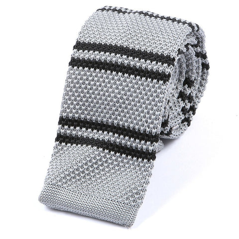 Grey & Black Stripe Knitted Tie - Handmade Silk Wool And Knitted Ties by Tie Doctor