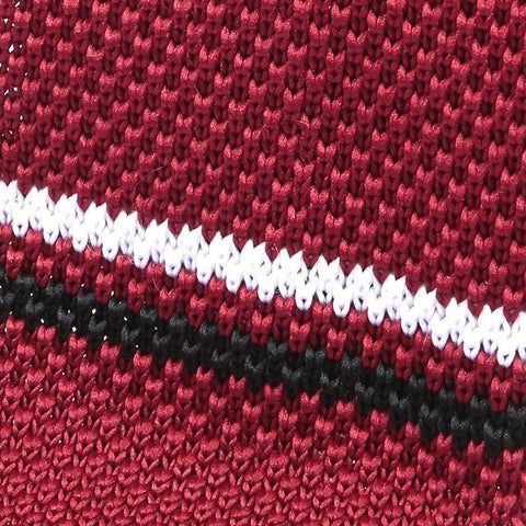 Red Black & White Stripe Knitted Tie