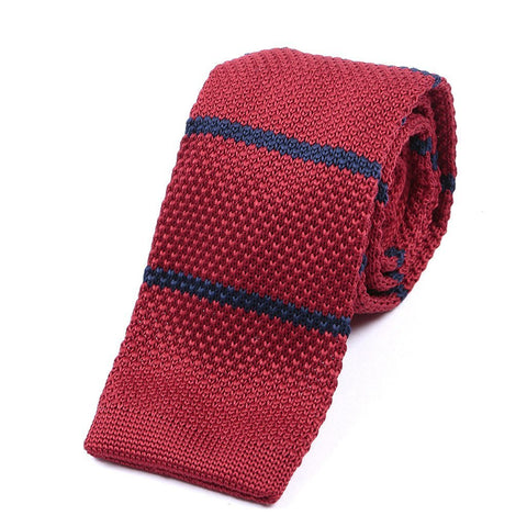 Red & Navy Knitted Tie - Handmade Limited Edition Ties by Tie Doctor
