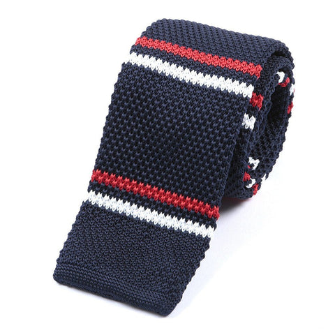 Navy & Red Striped Knitted Tie - TIE DOCTOR online