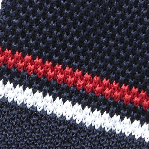 Navy & Red Striped Knitted Tie - Handmade Silk Wool And Knitted Ties by Tie Doctor