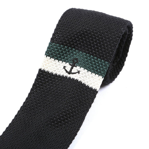 Black & Green Anchor Knitted Tie - Handmade Silk Wool And Knitted Ties by Tie Doctor